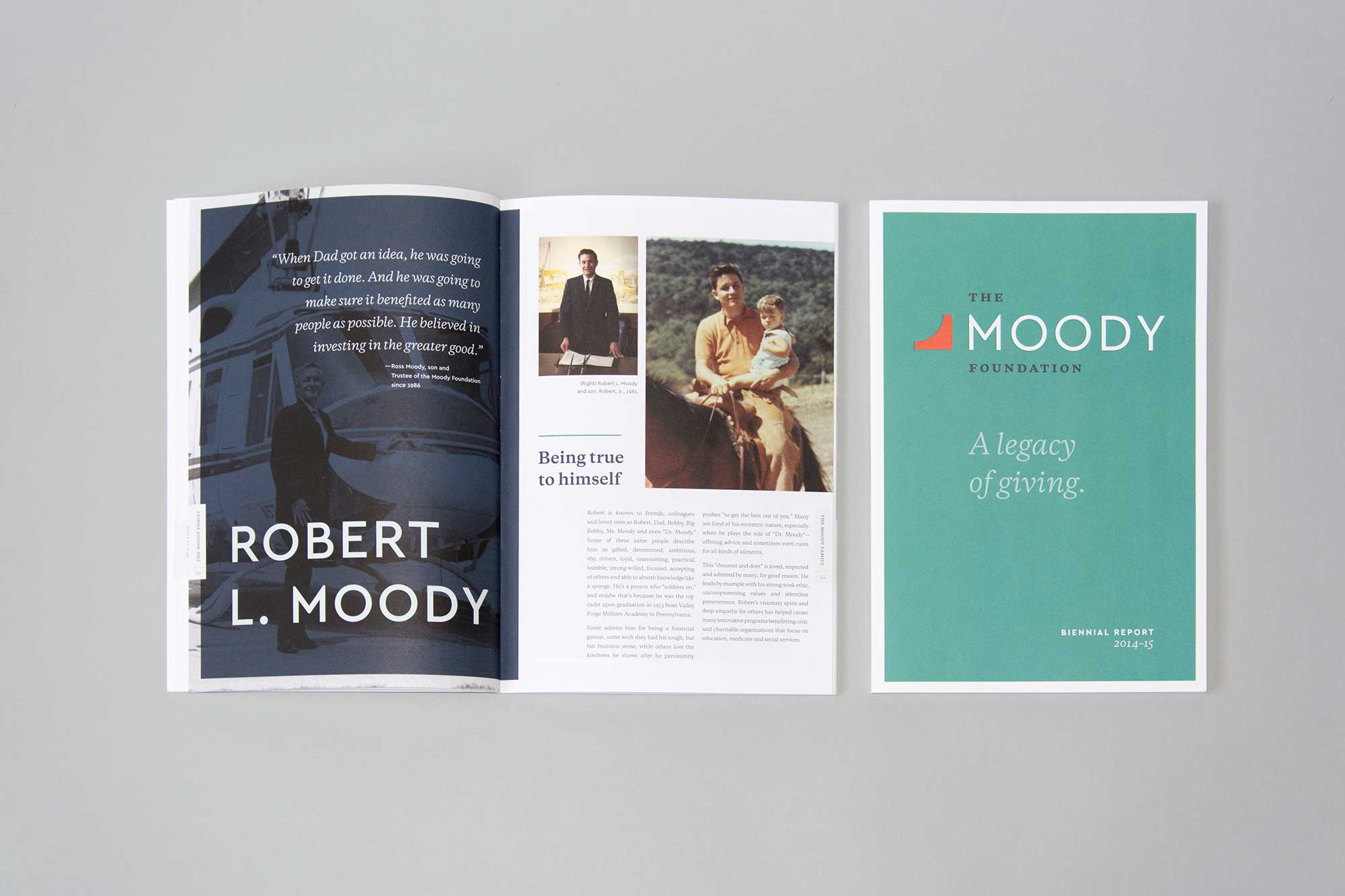 Moody Foundation Annual Report spread and cover